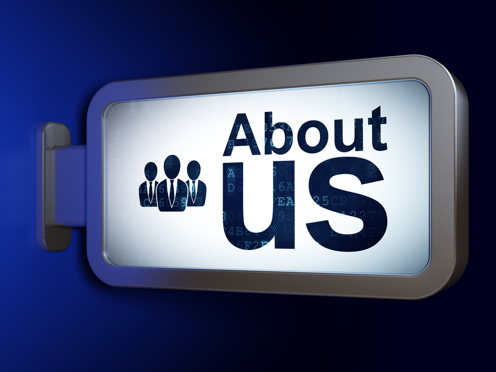 Marketing concept: About Us and Business People on advertising billboard background, 3d render